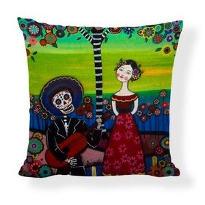 Other - Girl & Lo Muerto Playing Guitar Pillow Linen